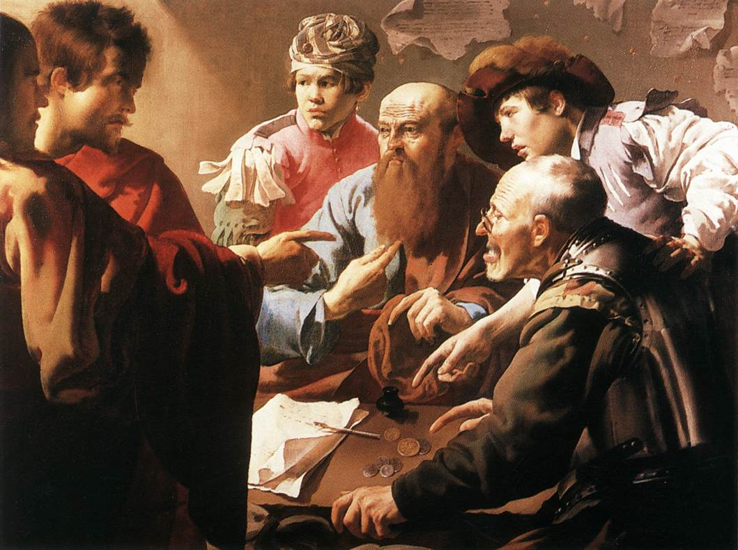 "I love this painting.  See Jesus pointing to Levi (Matthew), and see Levi incredulously pointing to himself as if to say, ""who me?"""