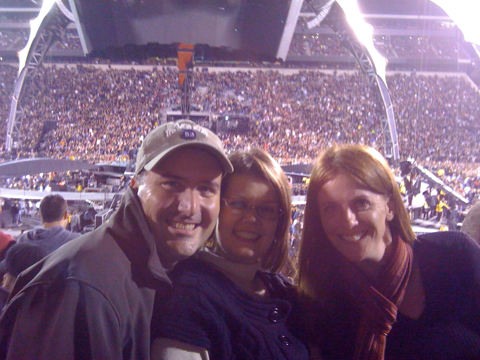 Kimberly and I with our friend Christy at the U2 concert in 2009.