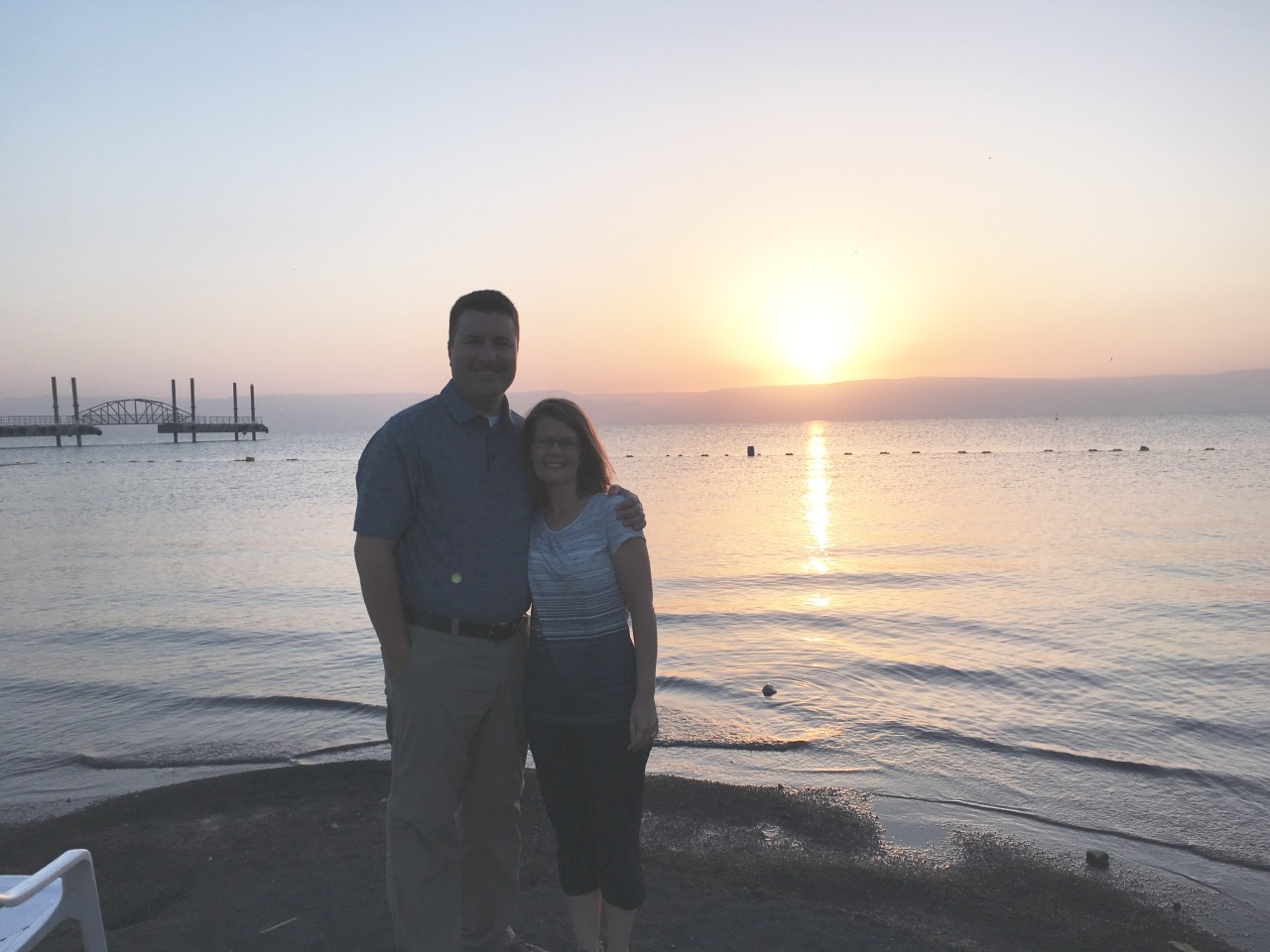 Kimberly and I at sunrise on the Sea of Galilee before visiting Caesarea Philippi