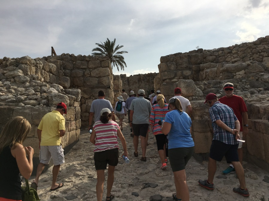 The wall around the ancient fort at Megiddo