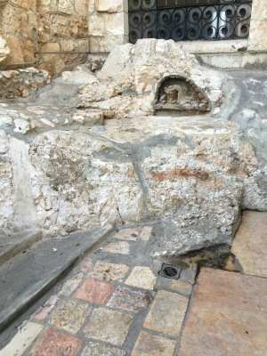The traditional rock where Jesus prayed in Gethsemane.