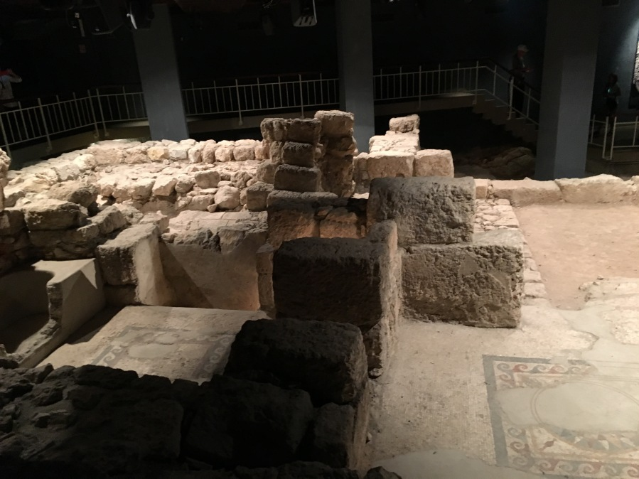 Ruins of an ancient house in the Priestly quarter of Jerusalem's old city