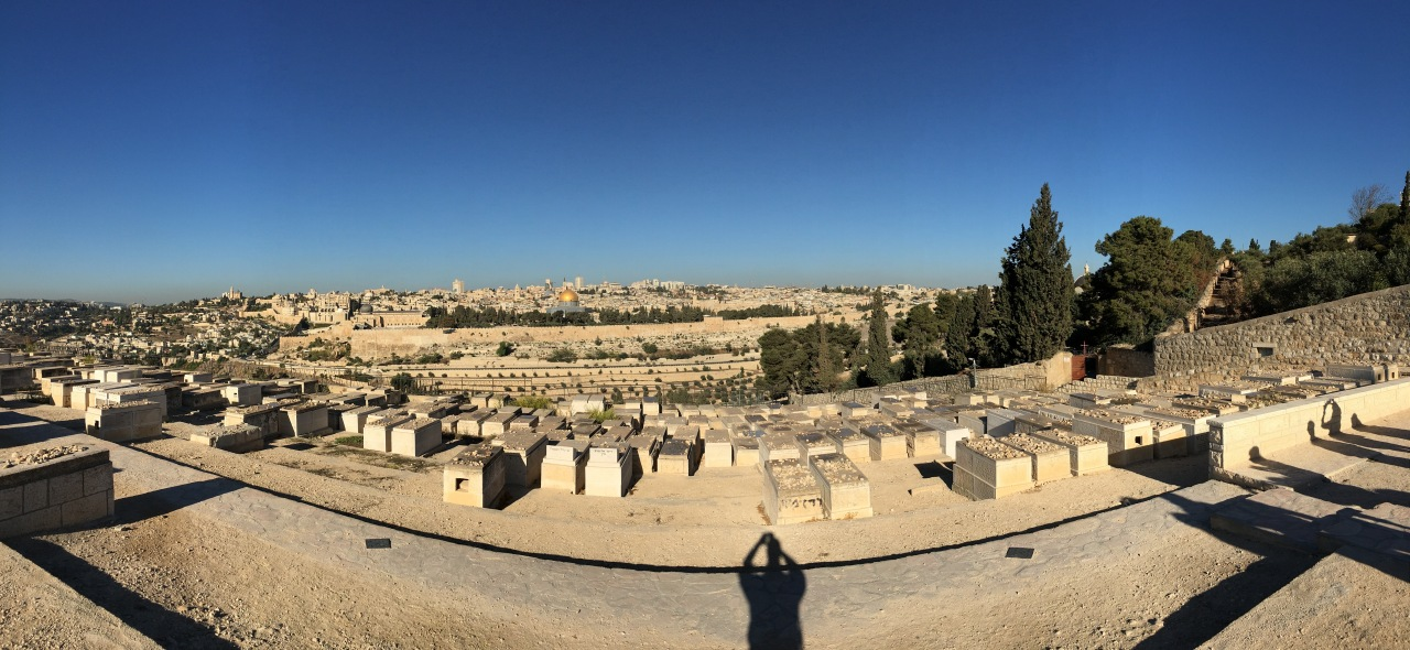 A panoramic view of the Old City of Jerusalem from the Mount of Olives.