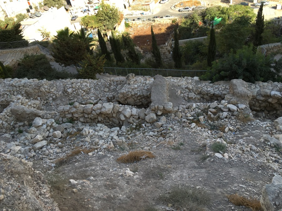 """A very small section of the """"wall"""" you see below is all that remains of the wall Nehemiah and the Israelites built upon returning to the city after exile."""