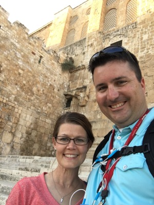 """Kimberly and I on the Southern Steps near the """"Hulda Gate."""""""