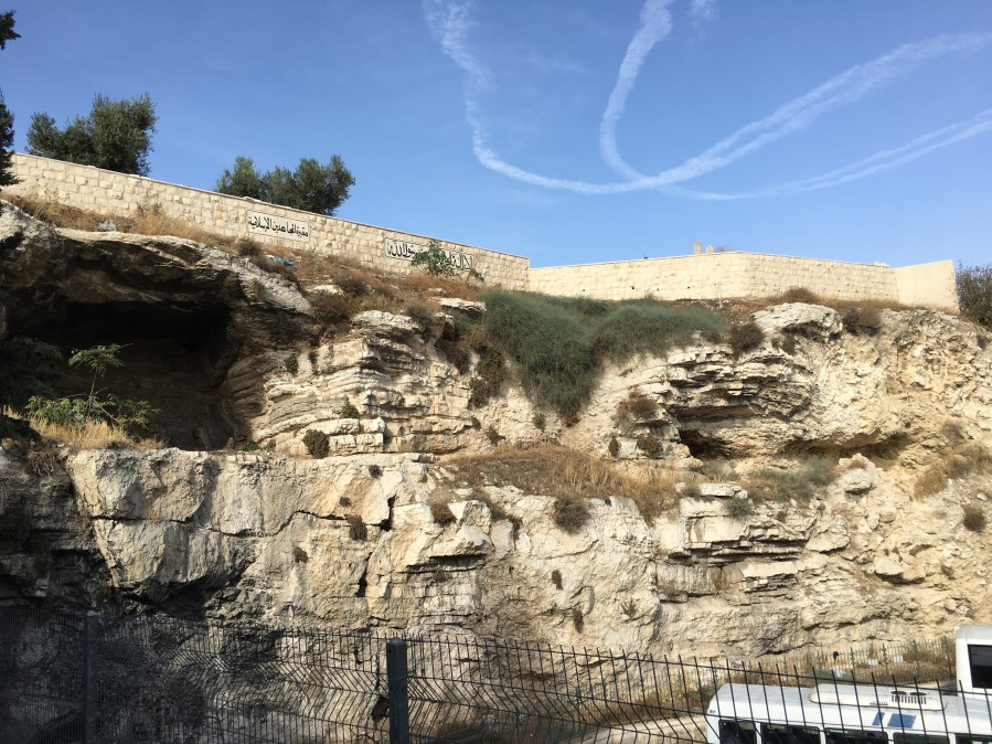 Not a great picture, but this is Golgotha.  The large cave on the left is one of the three caves making the hill have the appearance of a skull.